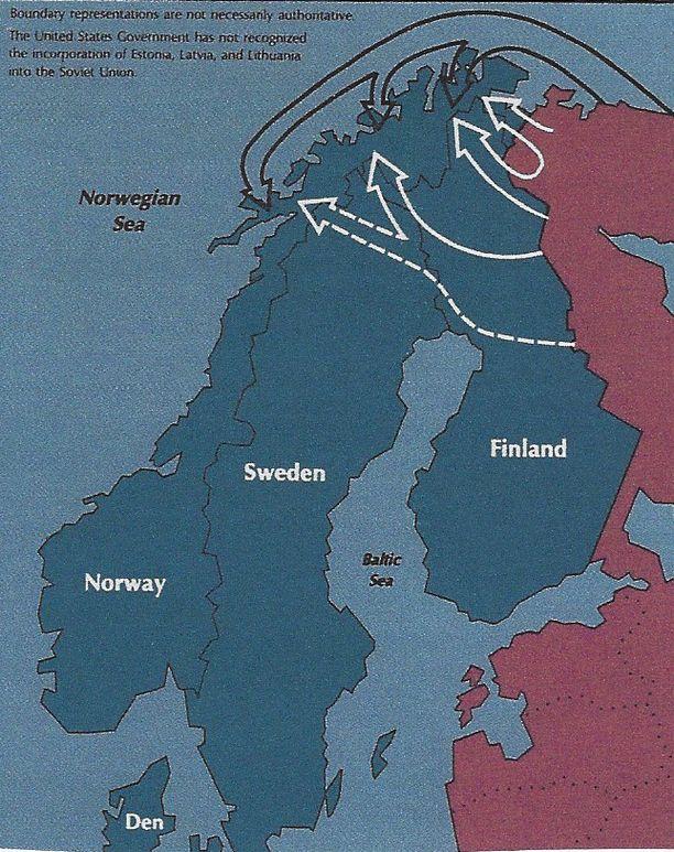 Yhdysvaltain puolustusministeriön jo vuonna 1989 julkaisemassa kartassa Pohjolan skenaariot on havainnollistettu. Nämä skenaariot ovat palanneet Vladimir Putinin kolmannella ja neljännellä kaudella.