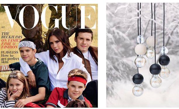 Kuvassa vasemmalla Voguen kansi, oikealla Heli Mäkirannan QUU-valaisin.