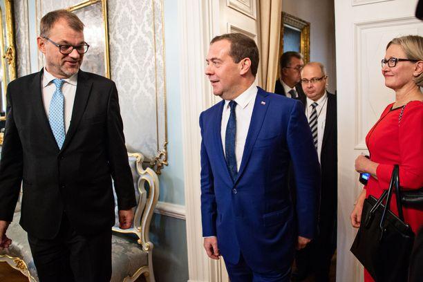 Sipilän ja Medvedev tavasivat aamupäivällä hyvissä tunnelmissa.