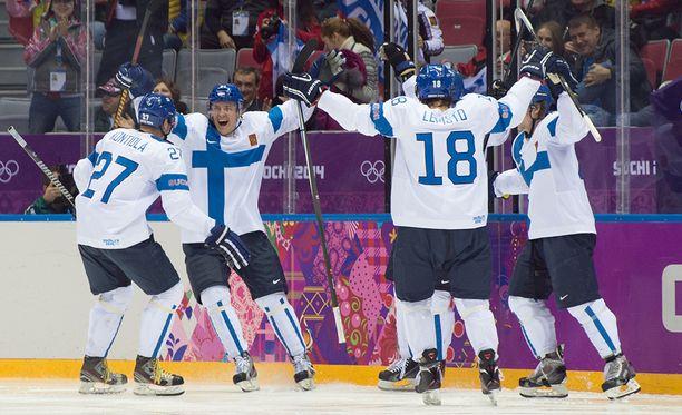 Suomen jääkiekko-ottelut Pyeongchangissa nähdään TV5-kanavalla. Kuva Sotshin kiekkoturnauksesta.