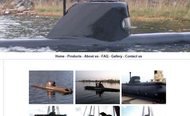Ruotsissa on sukellusveneitä myös siviilikäytössä. Kuvakaappaus ruotsalaisen Sub Mare -yhtiön sivuilta.