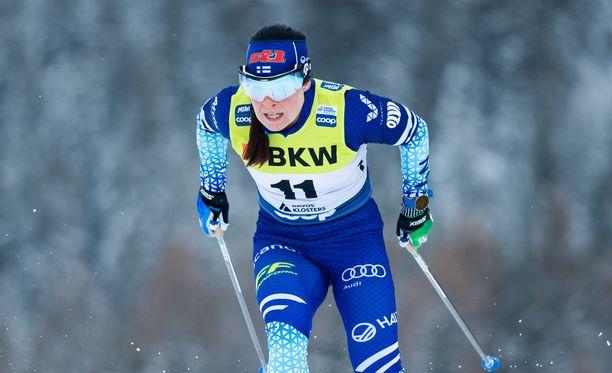 Krista Pärmäkoski on hiihtänyt tällä kaudella kerran palkintopallille maailmancupissa.