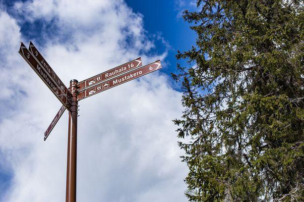 Kansallispuistojen reitit on merkitty.