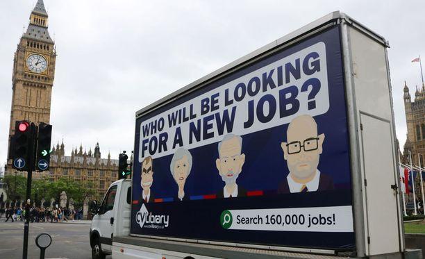 """""""Kuka joutuu työnhakuun?"""" Vaalimainontaa Lontoossa äänestyksen alla."""