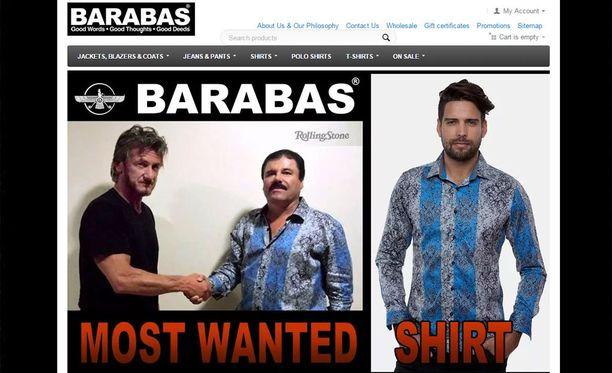 El Chaposta tuli hetkessä vaateyrityksen mannekiini. Kuvakaappaus Barabasin verkkosivuilta.