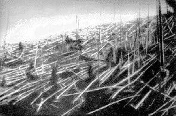 Tutkija Leonid Kulikin ottamassa kuvassa vuodelta 1927 näkyy karulla tavalla, millaiset tuhot Tunguskan räjähdyksestä aiheutui.