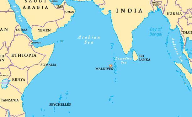 Kerrottu rakettiromun putoamispaikka sijaitsee Arabianmeressä melko lähellä Malediiveja ja Sri Lankaa.