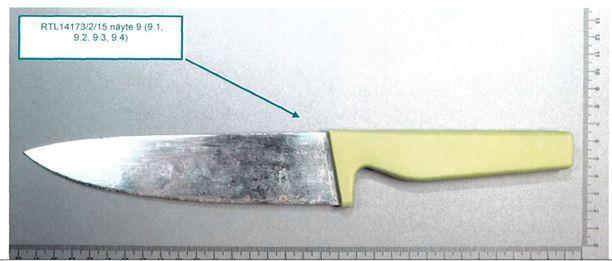 Metsästä löydetty, tekovälineeksi epäilty veitsi.