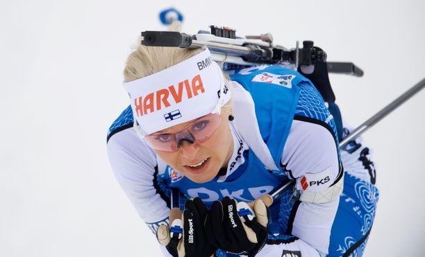 Mari Eder oli viime kaudella maailmancupissa parhaimmillaan neljäs.