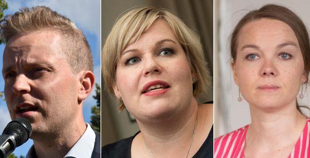 Petri Honkonen, Annika Saarikko ja Katri Kulmuni ovat maanantaina Politiikan toimittajien tentissä.