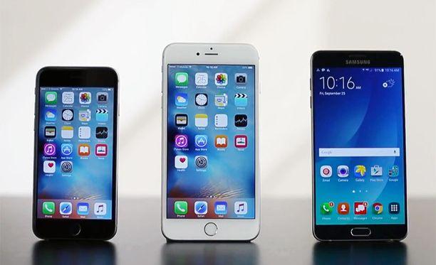 Rikkoutuvuustestissä koeteltiin iPhone 6s:ää, iPhone 6 Plusia ja Galaxy Note 5:ä.