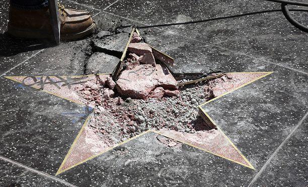 Presidentti Donald Trumpin Walk of Famen tähti käytiin tuhoamassa viimeksi heinäkuussa.