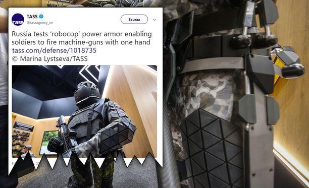 Venäjällä on esitelty uusi aktiivinen tukiranka sotilaille. Suuremmassa kuvassa taustalla näkyy Venäjän sotilaiden nykyisiä passiivisia tukirankoja.