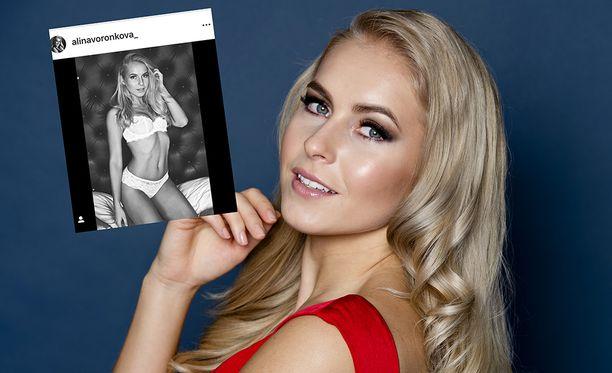 Miss Suomi Alina Voronkova tervehtii fanejaan Instagramissa alusvaatteisillaan.