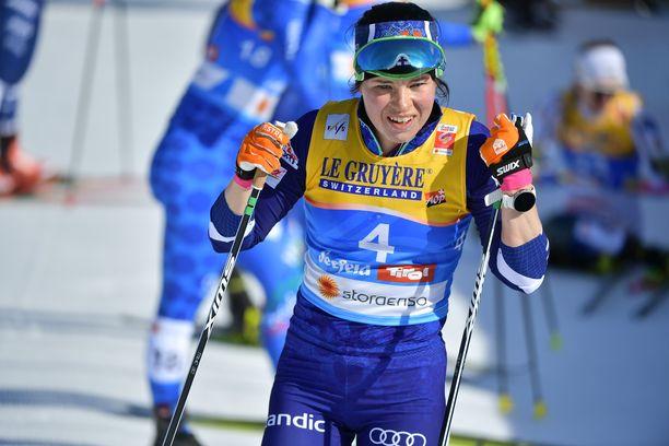 Krista Pärmäkoski oli kahdeksas lauantaina Seefeldissä.
