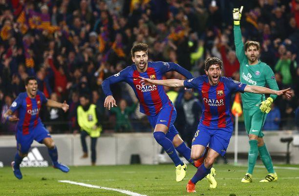 Sergi Roberton (kädet levällään) 6–1-maali sinetöi Barcelonan takaa-ajon maaliskuussa 2017.