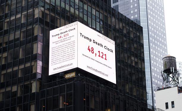 """""""Kuolemankello"""" New Yorkin Times Square -aukiolla maanantaina."""