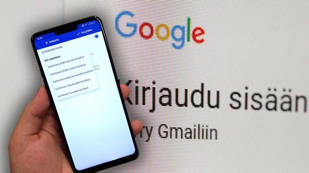 Gmail on ottanut käyttöön myös sovelluksissa luottamukselliset viestit.