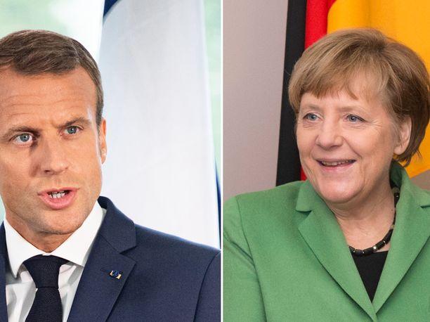 Emmanuel Macron ja Angela Merkel.