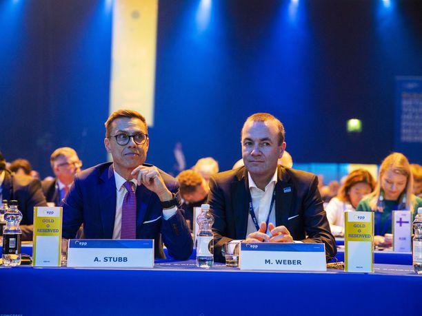 Alexander Stubb ja Manfred Weber Helsingissä keskiviikkona.