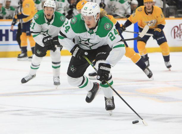 Roope Hintz teki oman piste-ennätyksensä viime NHL-kaudella.