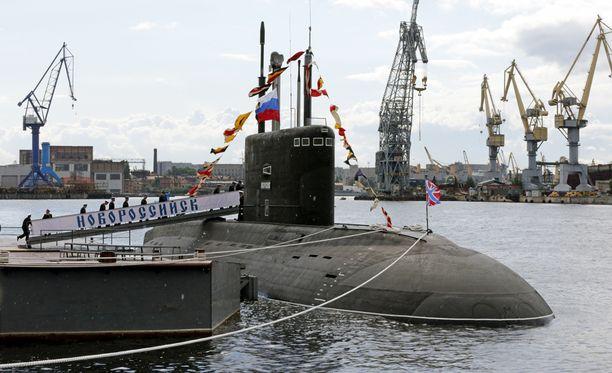 Venäjän Mustanmeren laivastoon kuuluva Novorossiysk-sukellusvene kuvattiin sen valmistumisen jälkeen Pietarissa elokuussa 2014.