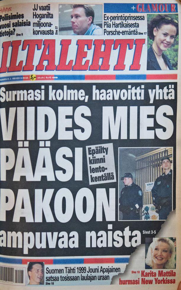 Iltalehden etusivu ammuskelua seuranneena päivänä.