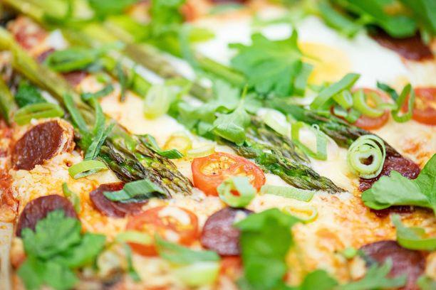Tuoreet yrtit lisätään pizzan päälle aina vasta paiston jälkeen.