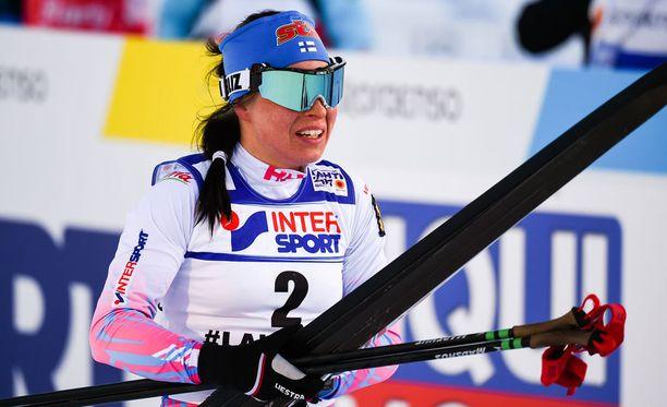 Krista Pärmäkoski oli nopein aika-ajossa.