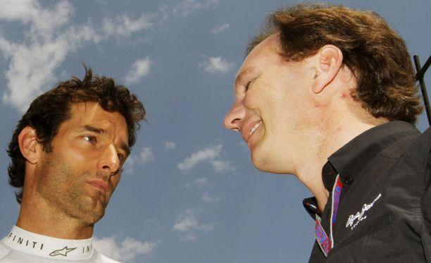 Christian Horner ja Mark Webber ovat hyvissä väleissä keskenään.