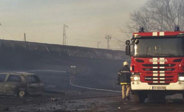 Kaasujunan räjähdys aiheutti paljon tuhoa.