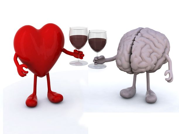 heart and brain with arms and legs make cheers with glasses of red wine