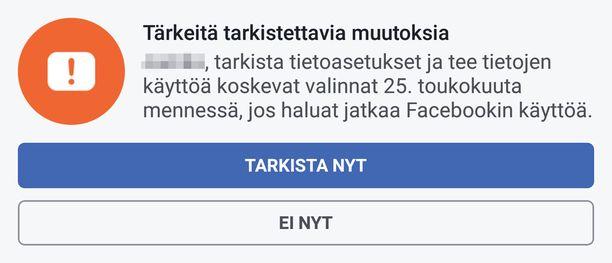 Facebook ilmoittaa sovelluksessa näkyvästi muutoksista.