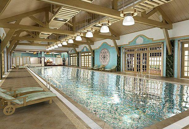 Uima-allas on rakennettu huvilan uuteen lisäsiipeen.