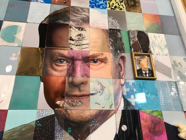 Tasavallan presidentti Sauli Niinistön muotokuva koostuu sadasta osateoksesta.