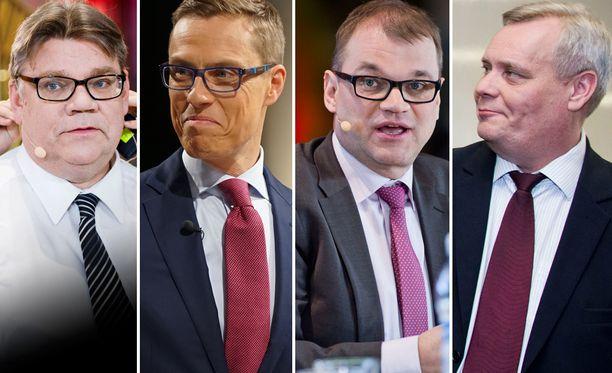 Timo Soinin (ps), Alexander Stubbin (kok), Juha Sipilän (kesk) ja Antti Rinteen (sd) puolueilla on vielä reilusti työmaata jäljellä ennen vaaleja.