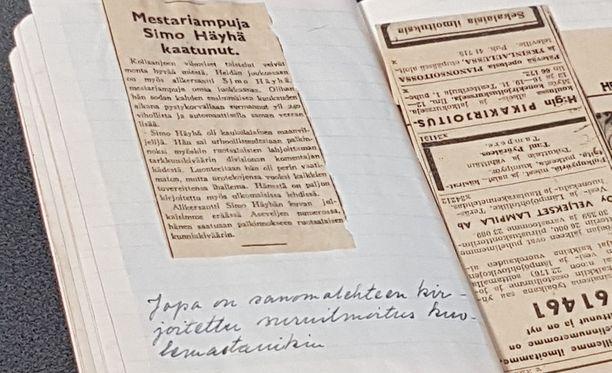 Simo Häyhän muistikirja huutokaupattiin maaliskuun puolessa välissä.