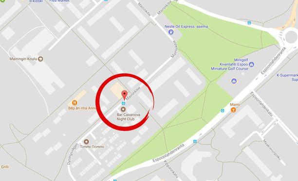 Kaksi miestä yritti raiskata nuoren naisen Espoonlahdessa Maininkitiellä ravintola Casanovan lähellä.
