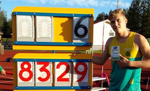 Toni Keränen heitti ennätystuloksen viimeisellä heittokierroksella.