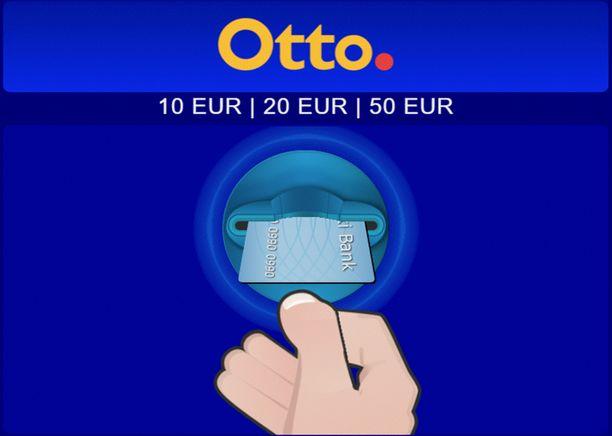 Ne Otto-automaatit, joista saa kymmenen euron seteleitä, tunnistaa automaatin näytöstä.