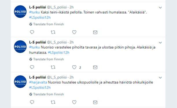 Lounais-Suomen poliisin Twitter-maraton raportoi muun muassa useista nuorisoon liittyvistä tehtävistä.