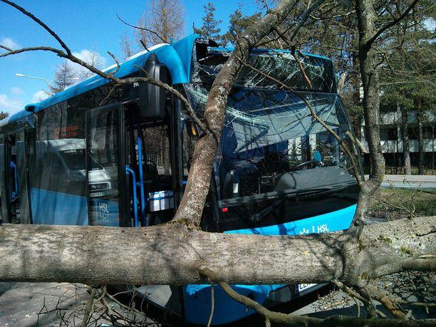 Puu osui myös osin pysäkillä olleen bussin päälle.