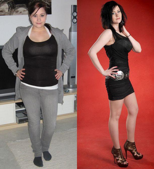 Sanna ennen ja nyt. Vuosina 2008-2010 Sanna painoi 76-84 kiloa.