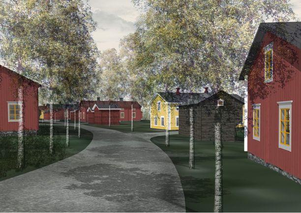 Kuin vanhoissa Suomi-filmeissä? Tältä Uudenmaan perinnekylän visioima asuinalue Sipoon Talmassa voisi näyttää tulevaisuudessa.