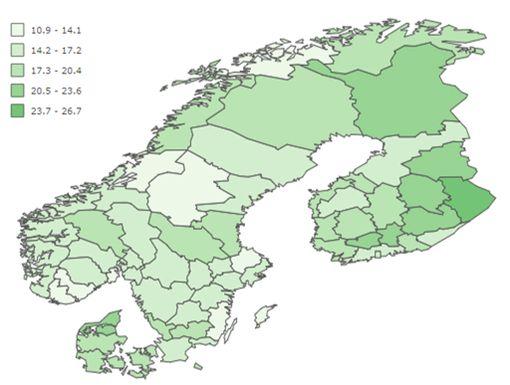 Kunkin maan sisällä on suuria alueellisia eroja. Osa Suomen maakunnista vastaa Pohjoismaista tasoa sydäninfarktin hoidossa mutta Suomesta löytyy myös kaikkein heikoimmin menestyviä maakuntia. Suomessa sydäninfarktipotilaiden kuolleisuus vaihtelee jopa yli 10 prosenttiyksikköä sairaanhoitopiirien välillä vuosittain, THL kertoo tiedotteessaan. Tummimmalla vihreällä merkityt alueet ovat heikoimpia.