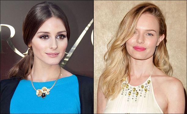 Olivia Palermo asettaa suoran jakauksen usein keskelle päätä. Kate Bosworth päätyi sivujakaukseen.