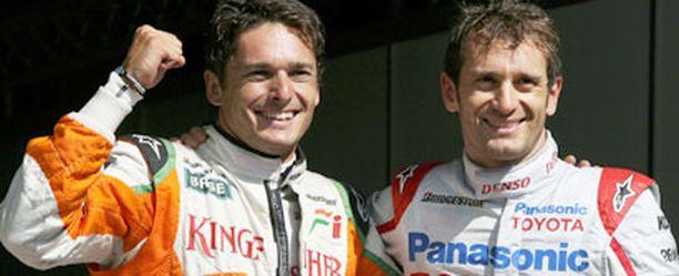 Giancarlo Fisichella ja Jarno Trulli. Italialaiskaksikko starttaa sunnuntaina ensimmäisestä rivistä.