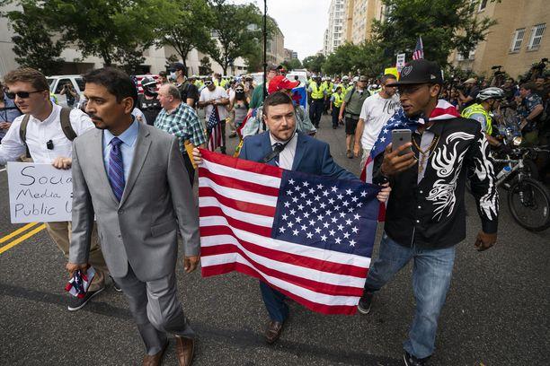 Alt-right-marssi järjestettiin Washingtonissa vuoden 2018 elokuussa Charlottesvillen väkivaltaisuuksien jälkeen.