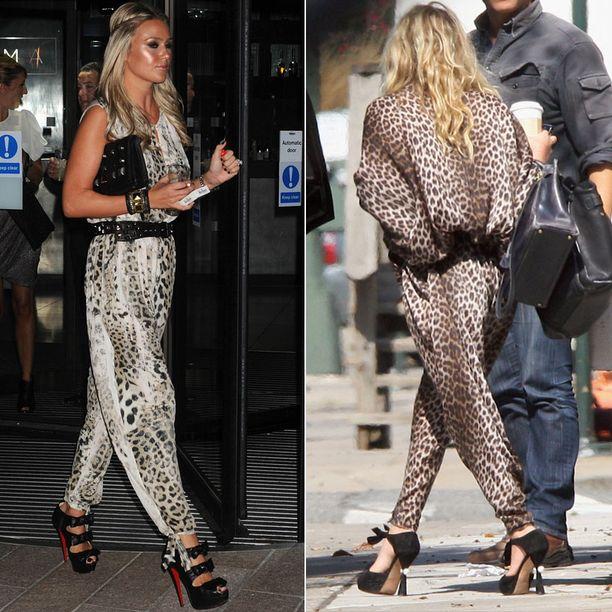 Alex Curran ja Mary Kate Olsen ovat trendikkäitä leopardikuosissa.