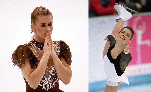 Tonya Harding (vas.) epäonnistui vuoden 1994 olympialaisissa skandaalin jälkeen, Nancy Kerrigan saavutti olympiahopeaa.